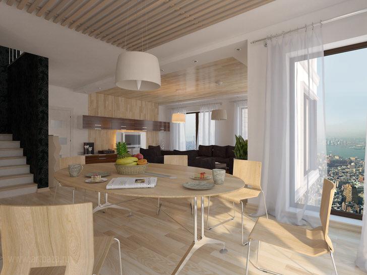 Мебель и отделка из натурального светлого дерева органично смотрится в интерьере обеденной комнаты в эко стиле. Панорамные окна позволяют воссоединиться с естественной природой.