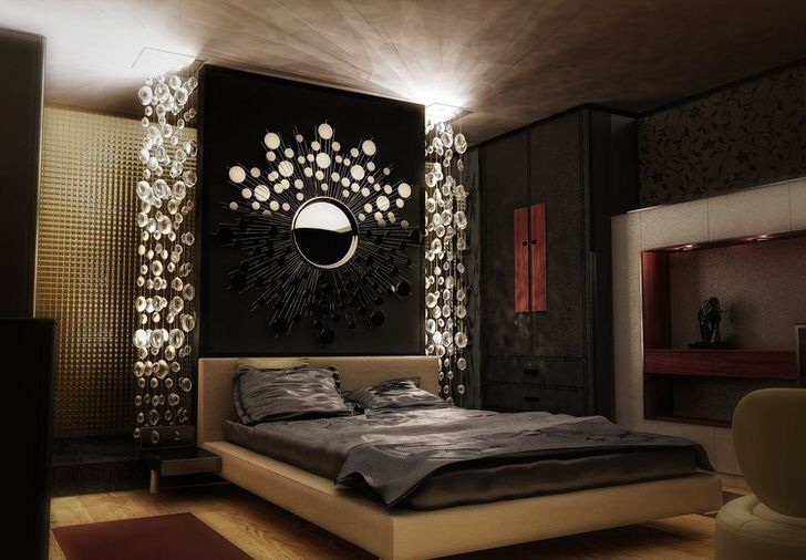Спальная комната в стиле арт деко оформлена в цвете венге. Стильное решение для небольшого жилого помещения.