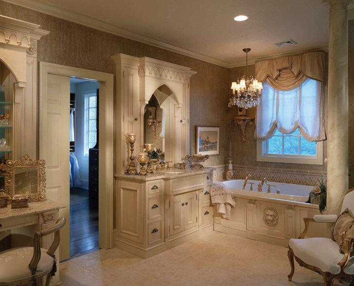 Элегантное оформление с нотками помпезности воплощено в реальность в ванной в стиле модерн.