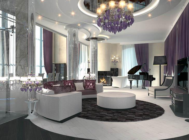 Многоярусный потолок с точечным освещением дополняет общую композицию стиля арт деко, в котором выполнена гостиная.