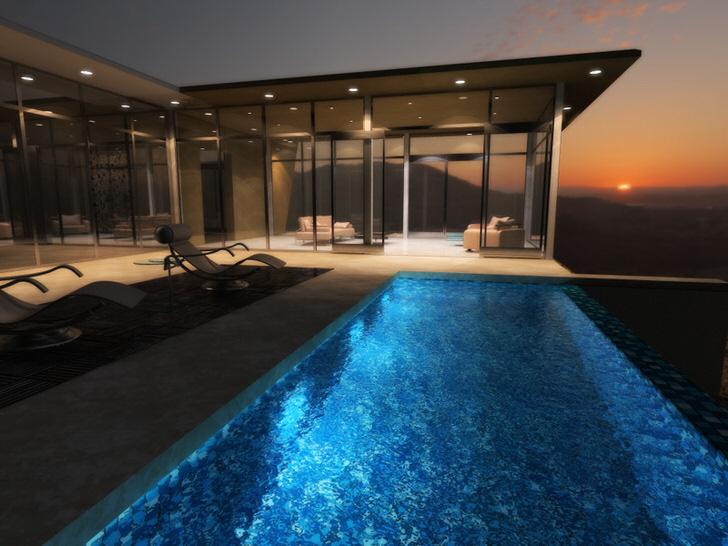 Стены дома в стиле хай тек преимущественно выполнены из стекла. Дизайн делает здание необычным и привлекательным.
