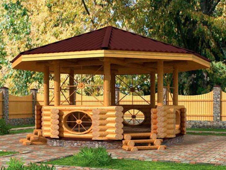 Беседка в скандинавском стиле из деревянного сруба с темно-вишневой крышей.
