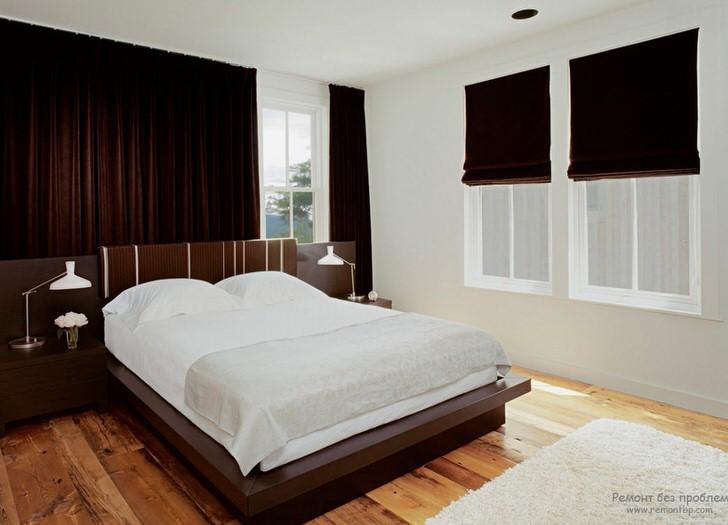 Спальня венге не любит излишеств, поэтому декоративных элементов должно быть минимум.