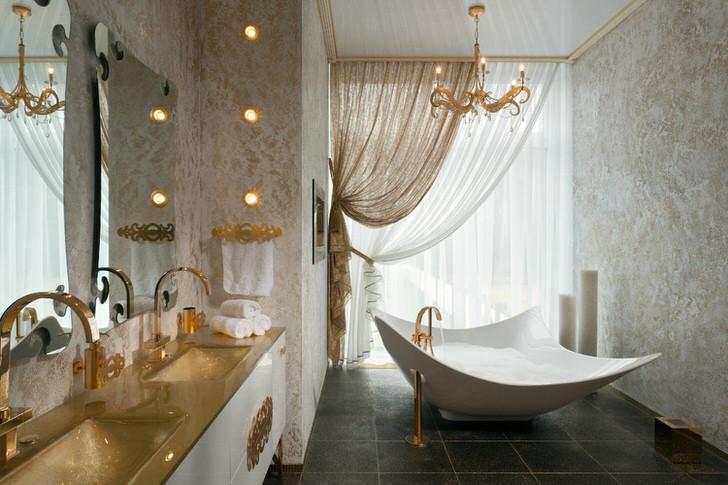 Дизайнерский проект для ванной комнаты в стиле модерн для квартиры знаменитости Нью-Йорка.