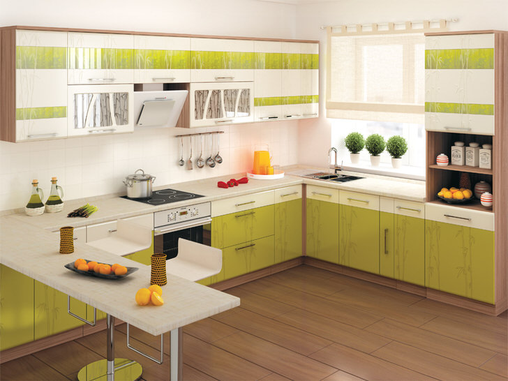 Зеленый цвет способствует появлению хорошего настроения, стимулирует работу мозга. Модульная кухня с огромным числом ящиков подходит для просторных кухонь.