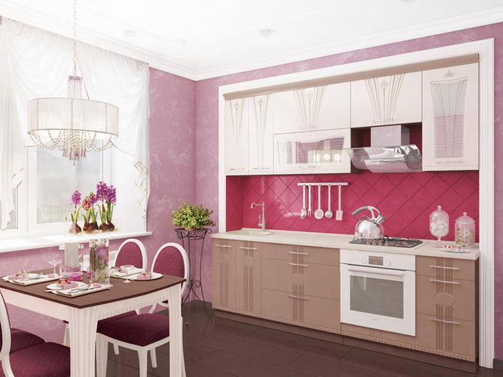 Интересное решение для кухни. Модульный гарнитур спрятан в своеобразную нишу, что позволяет сэкономить полезную площадь в комнате.