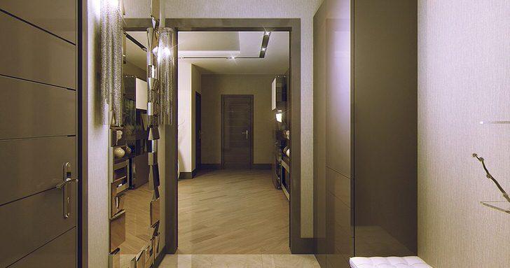 Интерьер прихожей в стиле модерн быть должен быть просторным. Использование лишних декоративных деталей недопустимо.