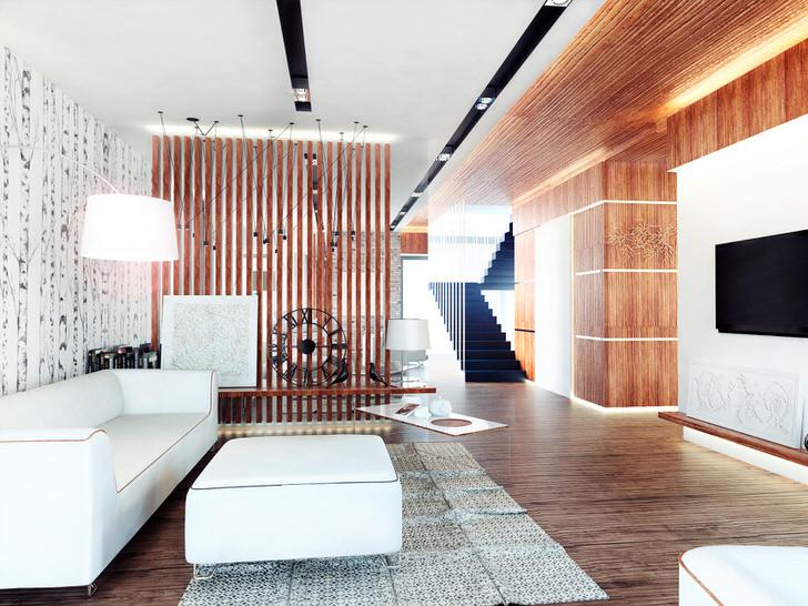 В оформлении комнат в эко стиле часто используются перегородки из натуральных материалов.