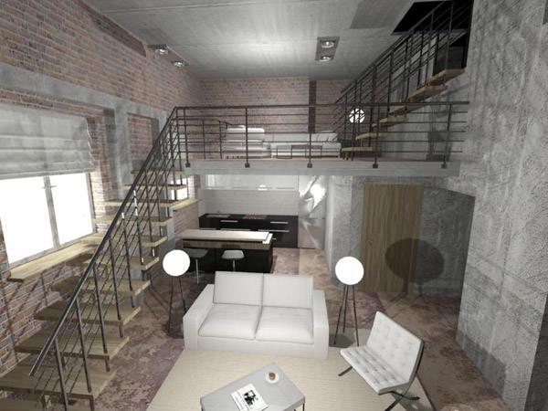 В дизайне интерьера гостевой комнаты в стиле лофт преимущественно используются серые тона.