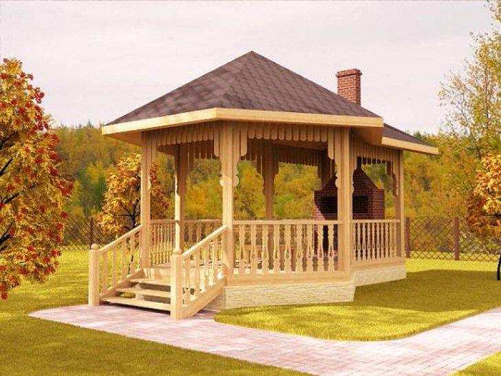 Лучшим украшением для беседки в скандинавском стиле считается дровяной камин из кирпича или природного камня.