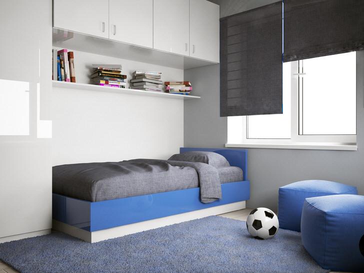 Детская комната мальчика-подростка оформлена в соответствии с требованиями стиля минимализм.