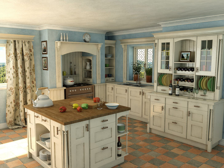 Сочетание голубого и белого выгодно смотрится на кухне, оформленной в английском цвете.