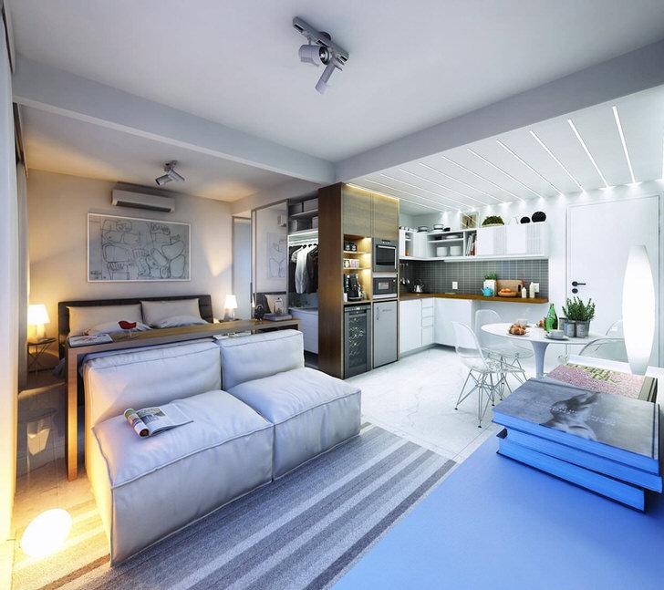 Стильный вариант оформления интерьера малогабаритной квартиры студии