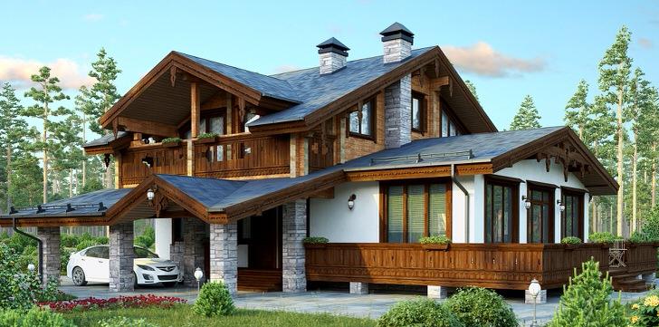 Проект дома в стиле шале - идеальный вариант загородной недвижимости.