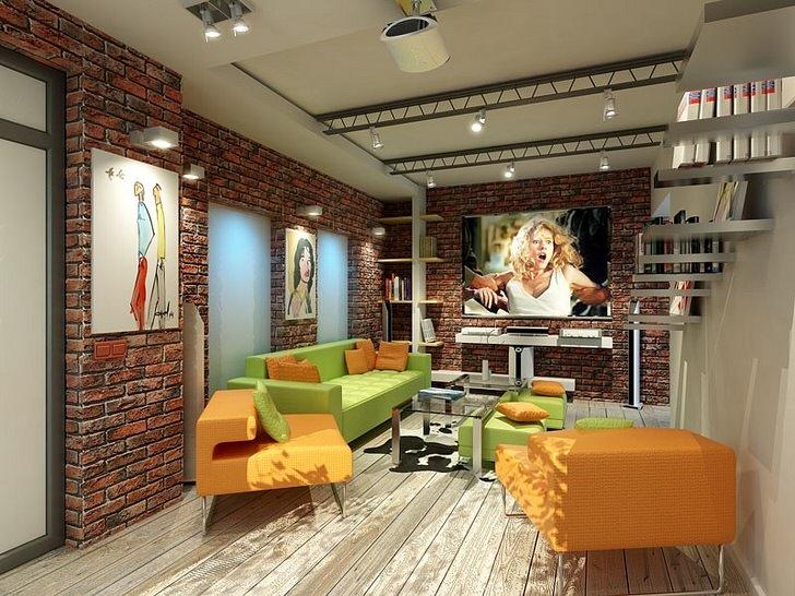 Освещение гостиной в стиле лофт условно разделено на самостоятельно функционирующие области.