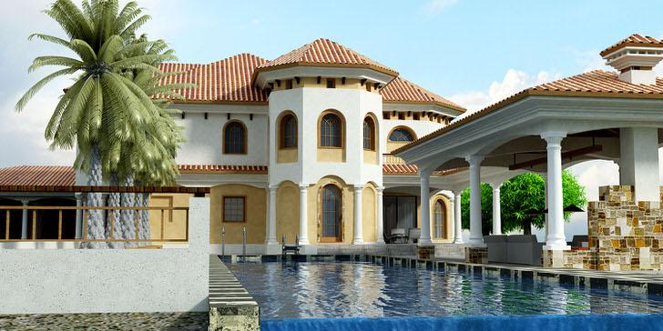 Фасад дома в средиземноморском стиле выполнен в светло-бежевых тонах. Для стиля характерны арочные оконные проемы.