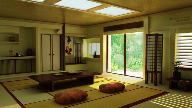 О присутствии японского минимализма в гостиной в загородном особняке говорит правильно подобранная мебель. Низкий столик идеально подойдет для домашних чаепитий.