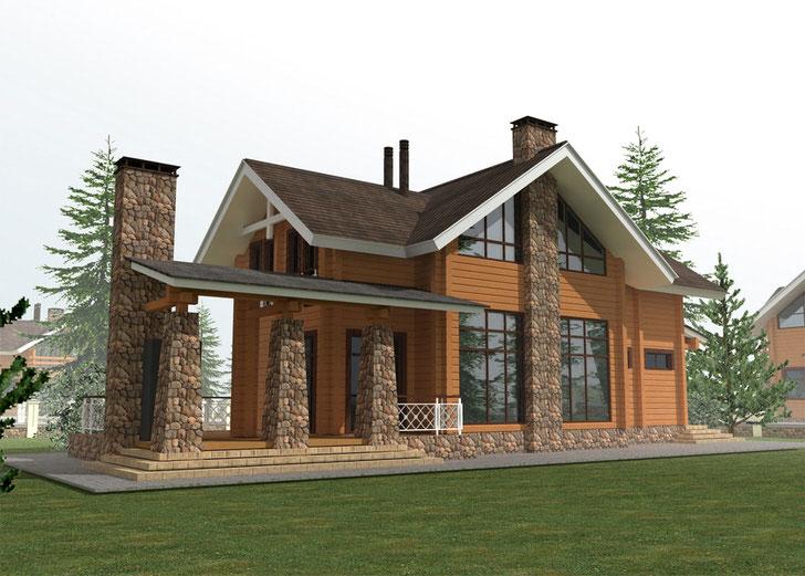 Дизайнерский проект загородного особняка в стиле шале построен на использовании для строительства деревянного сруба и природного камня.