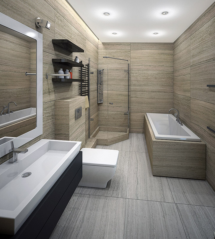 Стиль минимализм позволяет разместить в ванной комнате и душевую кабинку, и ванну. Универсальный вариант оформления интерьера в семейной квартире.