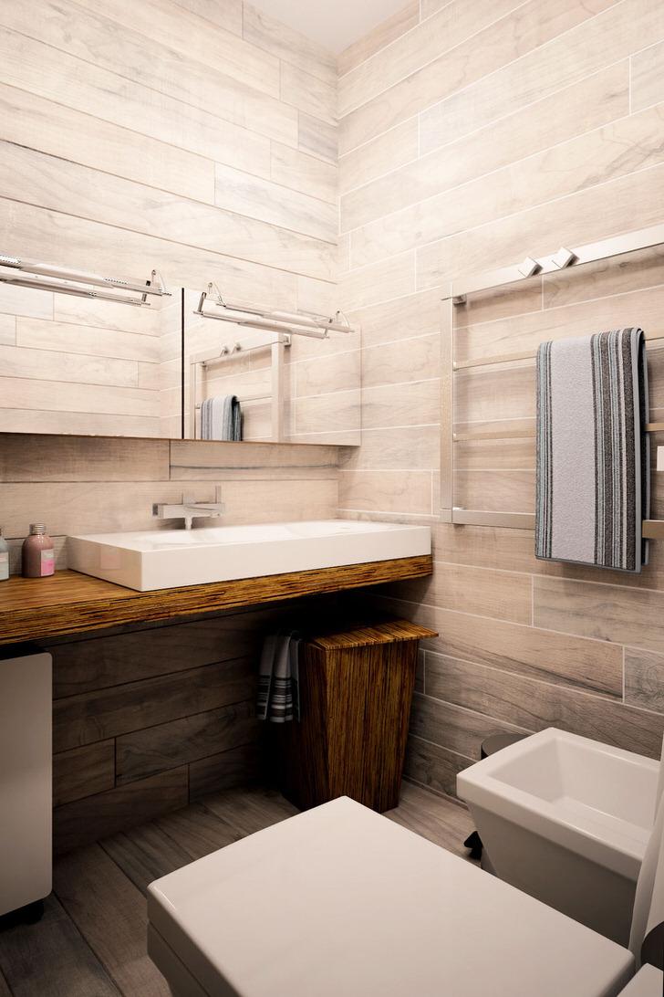Белый дуб - отличный вариант для отделки стен санузла, организованного в стиле шале. Привлекательной особенностью становятся правильно подобранные детали.