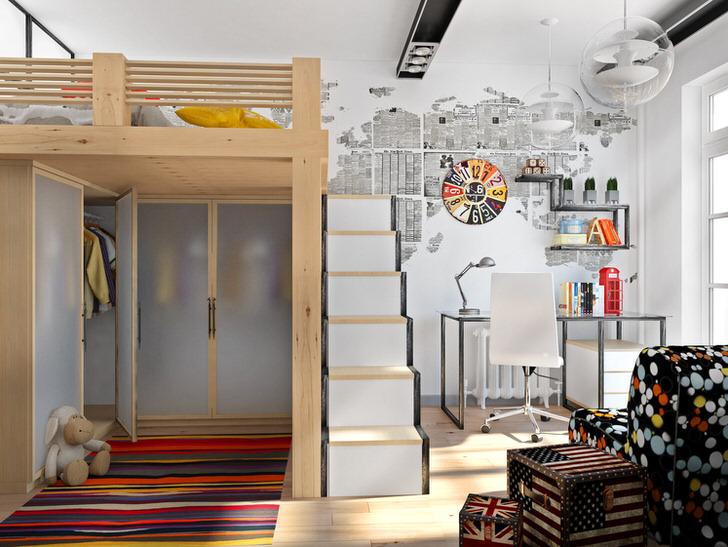Функциональное обустройство интерьера в стиле лофт. Вместительный шкаф из матового стекла спрятан под кроватью.