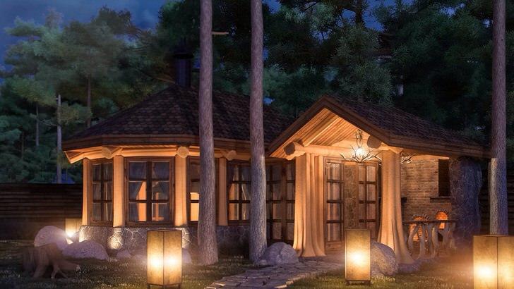 Остекленная беседка в стиле шале подойдет и для зимнего отдыха. Грамотно подобранное освещение делает обстановку таинственной и романтической.