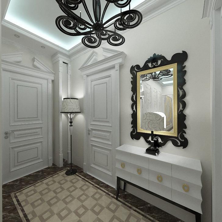Стиль арт деко любит светлые оттенки в интерьере. Прихожая, оформленная в белом цвете, примечательна правильно подобранными контрастными декоративными элементами.