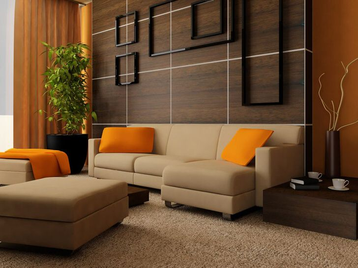 Наиболее выигрышным сочетанием становится использование в интерьере гостиной венге и оранжевого цвета, который смягчает обстановку, делает ее более теплой и уютной.