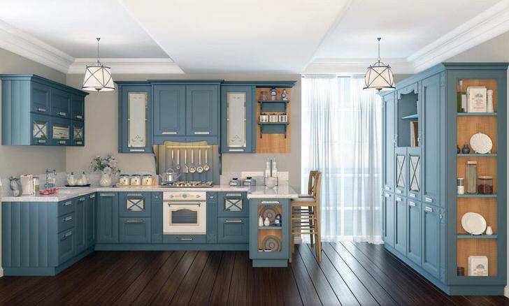 Приглушенный оттенок голубого цвета органично смотрится в интерьера кухни, оформленном в стиле неоклассика.