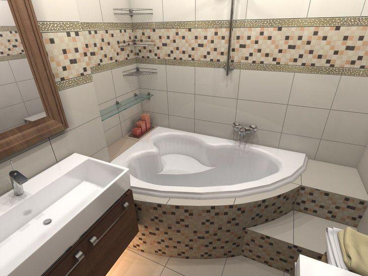 Ванная комната оснащена угловой ванной, что позволяет сэкономить полезное пространство.