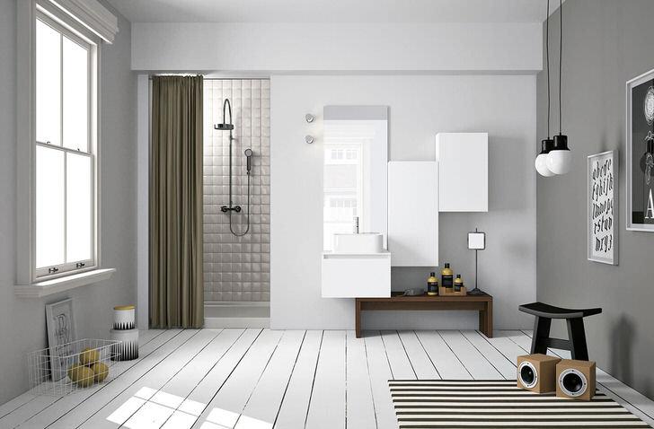 В интерьере ванной комнаты в скандинавском стиле особенно привлекательно смотрится дощетчатый пол.