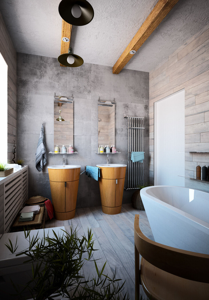 Ванная в стиле шале с отголосками лофта в загородном коттедже недалеко от Иркутска.