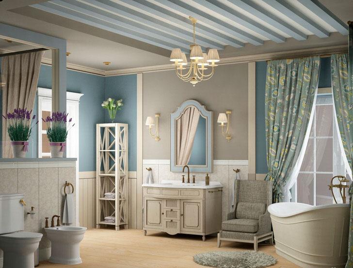 Шик средиземноморского стиля способен создать самую уютную и комфортную обстановку в ванной комнате.