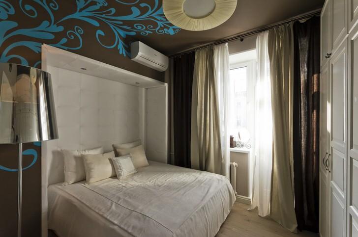 Контрастное оформление спальни