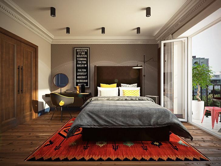 Для малогабаритной спальни в стиле лофт было подобрано соответствующее освещение. Небольшие светильники в металлическом обрамлении симметрично размещены на потолке.