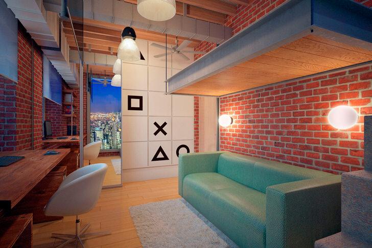 Детская комната в стиле лофт для подростка отличается ярким оформлением. Кирпичная кладка, открытые коммуникации, специфическое освещение - все, что необходимо для организации лофт интерьера.