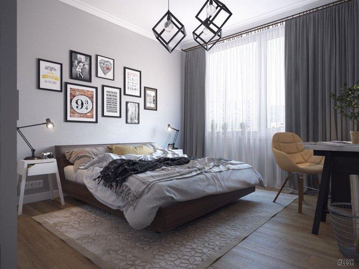 Эксклюзивное освещение для спальни в стиле лофт делает дизайнерскую концепцию завершенной. Лампы заключены в кубические плафоны из металла.