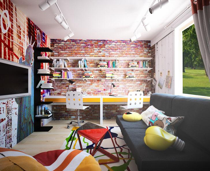 Творческий ребенок оценит оформление комнаты в стиле лофт. Яркие акценты, разноцветные декоративные детали, грамотное освещение свидетельствует о присутствии стиля лофт.