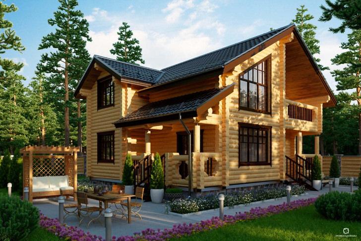 Загородный домик в деревенском стиле из сруба дерева - выбор большинства современных владельце недвижимости за городом.