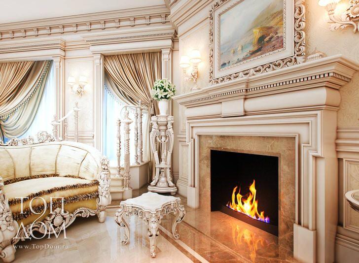 Дизайнерская лепнина в стиле барокко украшает камин в загородном особняке московского бизнесмена.