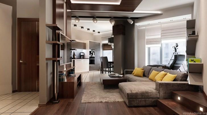 Квартира-студия площадью 40 квадратных метров в одной из новостроек Москвы.