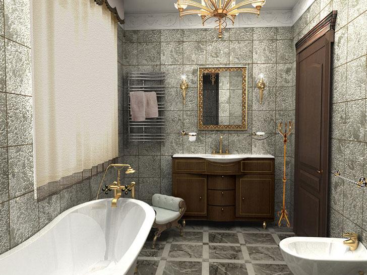 Роскошная ванная в стиле арт деко оформлена с учетом недостаточного пространства. Минимальное количество мебели, правильно подобранная сантехника, эксклюзивное освещение делают интерьер уникальным и неповторимым.