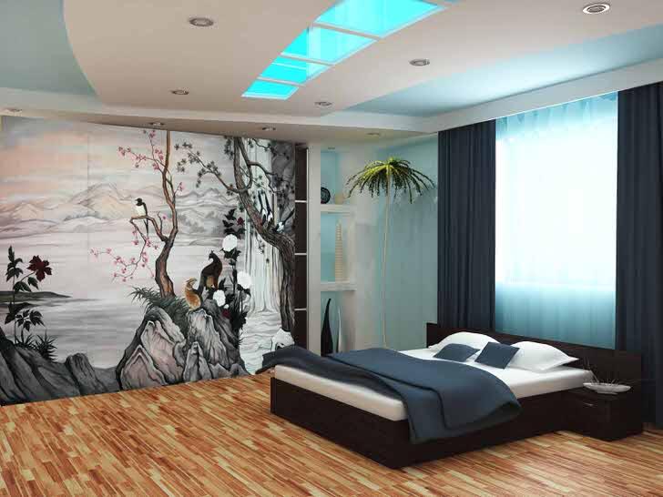 Для отделки стен спальни в стиле японского минимализма были использованы обои с фотопечатью. Тематический рисунок делает композицию оригинальной и завершенной.