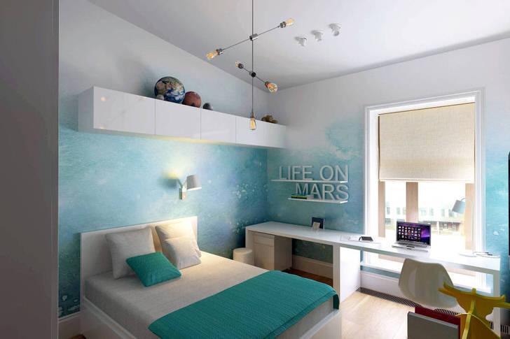 Бледно-голубой цвет в сочетании с белым смотрится необычно, волшебно. Оформление детской комнаты в стиле минимализм примечательно минимальным использованием мебели и декоративных деталей.