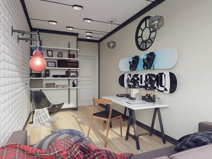 Детская комната для активного ребенка в доме испанской семьи оформлена в лофт стиле.