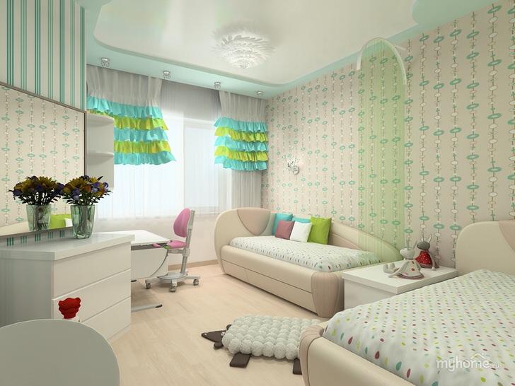 Изящная комната для двух истинных леди. Стильный интерьер рассчитан на небольшую комнату.