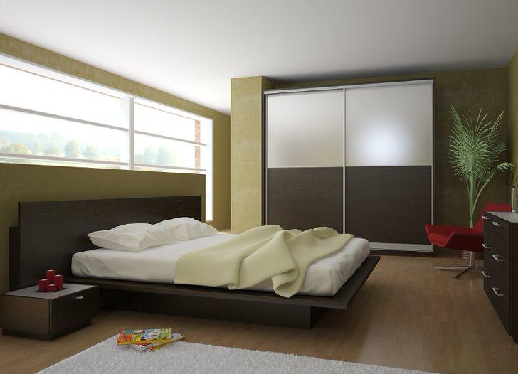 Спальня в стиле минимализм обставлена мебелью цвета венге.