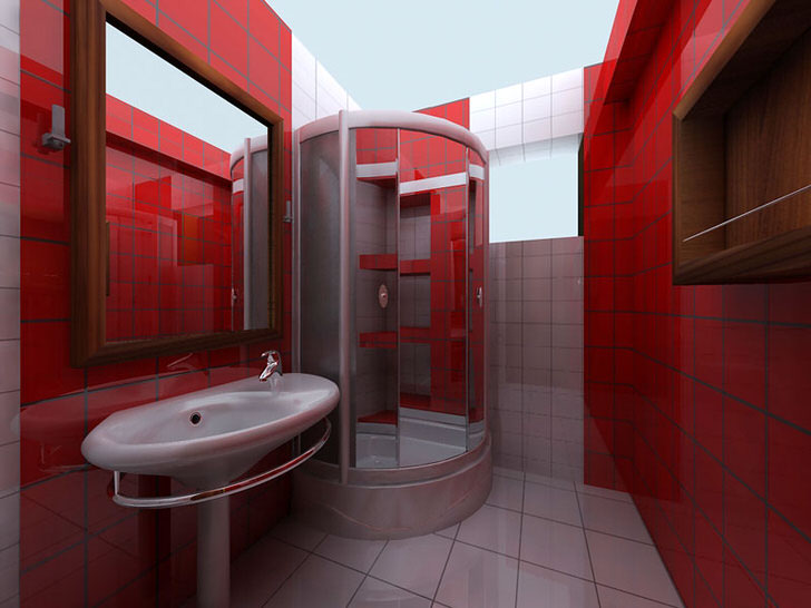 Благородный красный цвет в сочетании с белым визуально увеличивает комнату. Вместо громоздкой ванный ванная комната оснащена угловым душем.