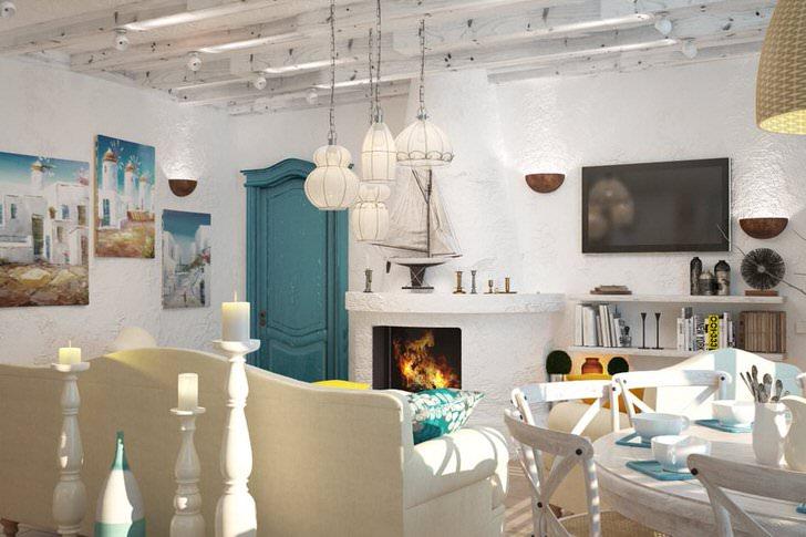 Белый интерьер гостевой комнаты в соответствии с требованиями средиземноморского стиля разбавлен элементами нежно-голубого, небесного цвета.