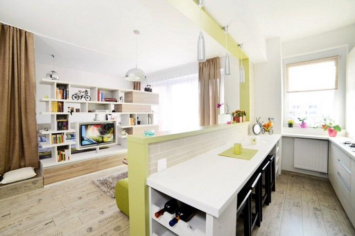 Квартира-студия оформлена в скандинавском стиле. Светлый, нежный интерьер органично смотрится на площади 40 квадратных метров.